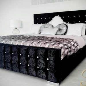Divine Range Cannes Crushed Velour Bed Choice of Size/Colour/Fabric