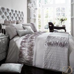 Silky Pleats Duvet Set - Silver