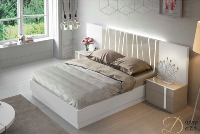 Fenicia Modern Bed in High Gloss Arena and White Matt with 2 Bedside  Cabinets