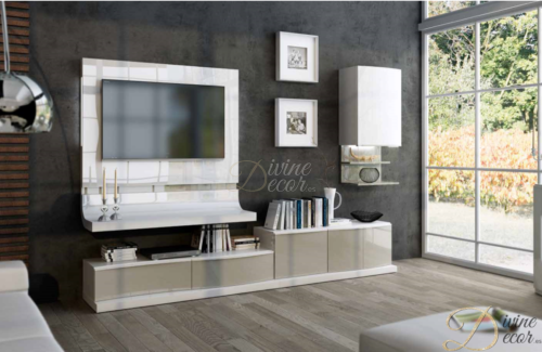 Fenicia Modern Wall Storage System with Floating TV Unit and Wall Cabinet