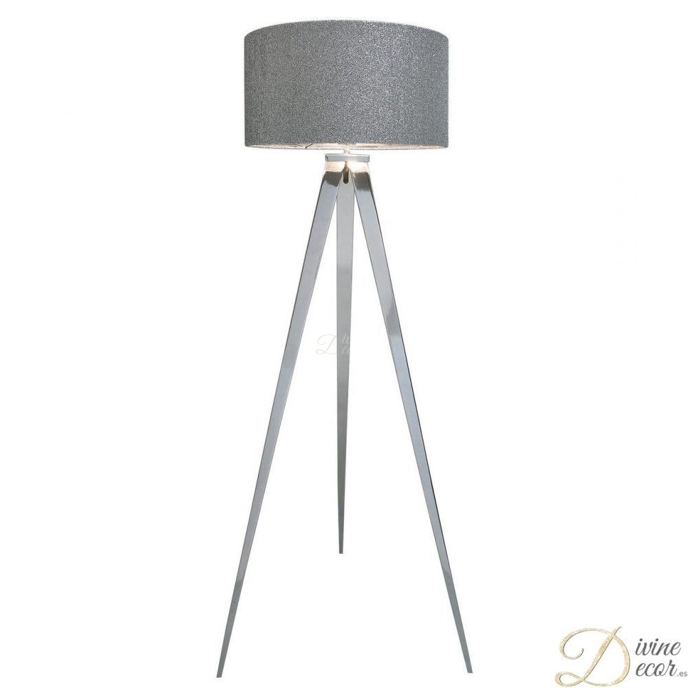 Glitter lamp shade archives chrome hollywood floor lamp with 48cm glitter drum shade aloadofball Images